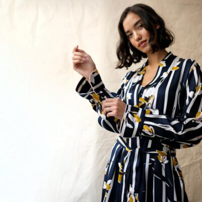 navy floral stripe long dressing gown by Fable and Eve