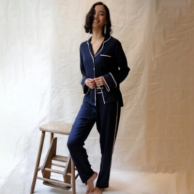 navy pyjama set by Fable and Eve