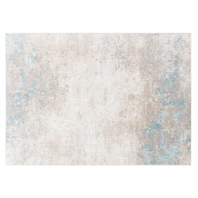 handmade woven Luminous cream and blue rug by Ligne Pure