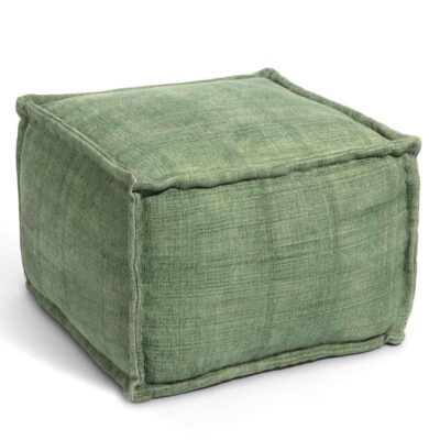 handwoven cotton Mellow green pouf by Ligne Pure