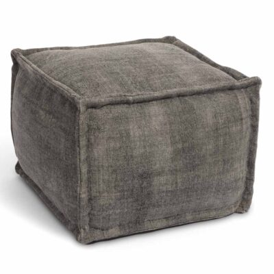 handwoven cotton Mellow grey pouf by Ligne Pure