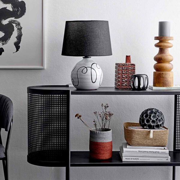 black metal console table by Bloomingville