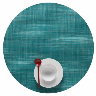 Round turquoise placemat by Chilewich