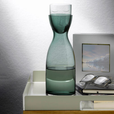 handmade Night Water green Carafe and Glass Set tall by Nude
