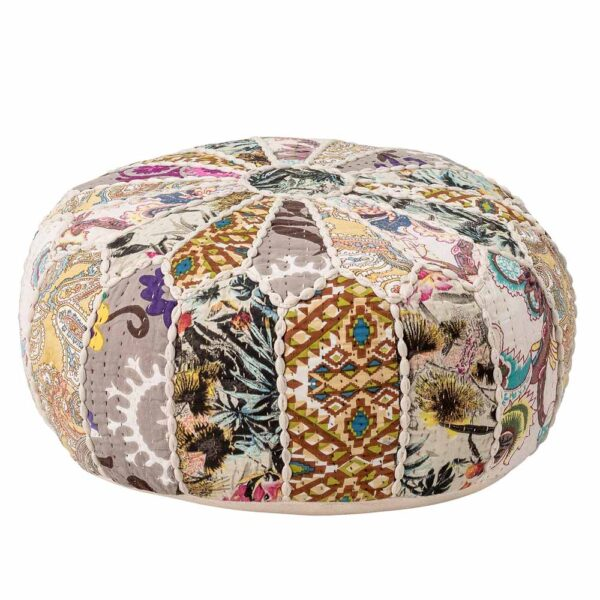 Multi coloured cotton round pouf by Bloomingville