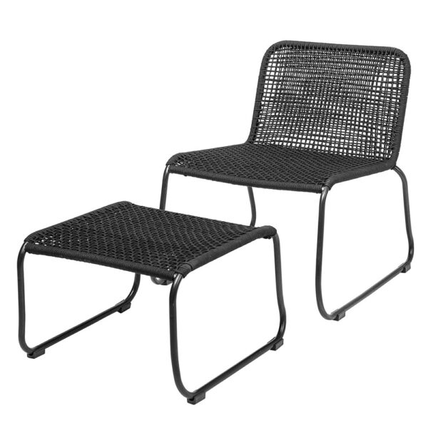 Black metal Lounge chair and footrest set by Bloomingville