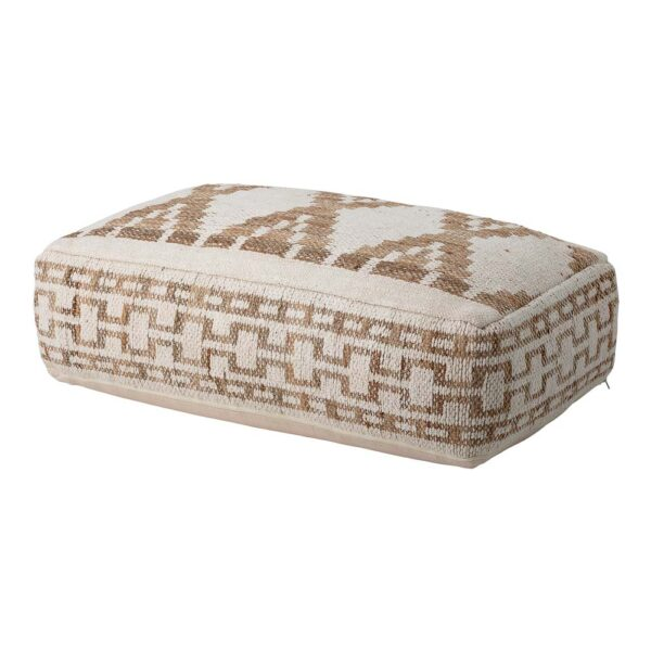 Natural rectangular Pouf made of jute and cotton by Bloomingville