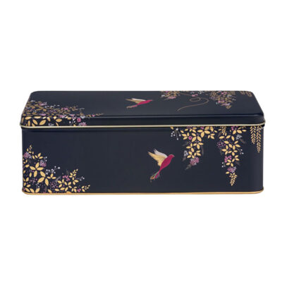 Blue rectangle tin box with birds by Sara Millerr