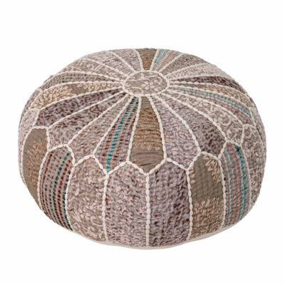 Neutral round pouf by Bloomingville