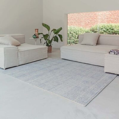 handwoven wool/bamboo silk Oat cream and blue rug by Ligne Pure