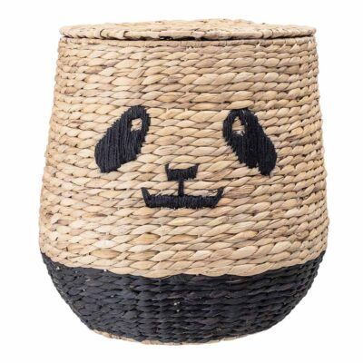Panda storage basket with lid made of Water Hyacinth by Bloomingville