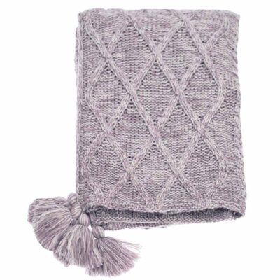 patchwork throw knitted in lavender yarn