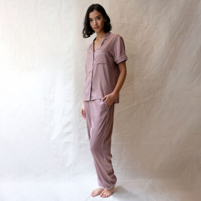 Primrose hill pink mocha pyjama set by Fable and Eve
