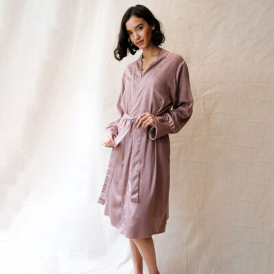 pink mocha short dressing gown by Fable and Eve