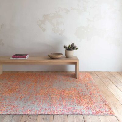 handknotted wool/viscose Reflect orange Rug by Ligne Pure
