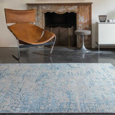 handknotted wool/viscose Reflect blue Rug by Ligne Pure