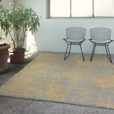 handknotted wool/viscose Reflect yellow Rug by Ligne Pure