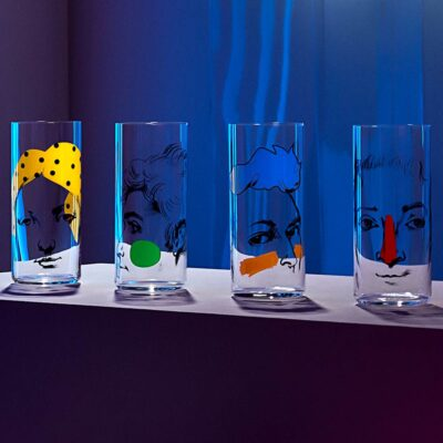 Handmade Set of 4 High Ball Glasses with face motifs
