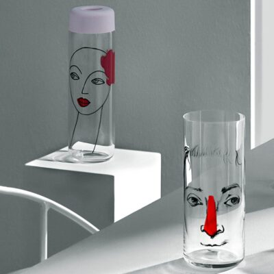 Handmade glass Jug with lead by Nude with a face motif