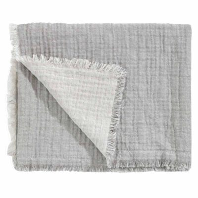 cotton and linen throw grey with fringed edges