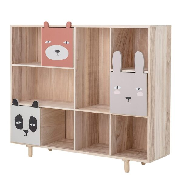 Kids Wooden bookcase with animal drawers by Bloomingville