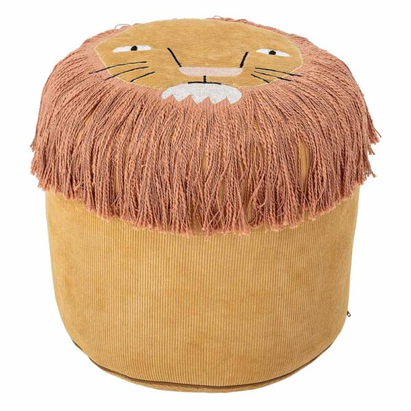Yellow corduroy lion pouf by Bloomingville