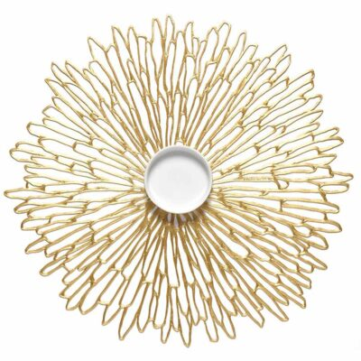 Bloom round gold placemat by Chilewich