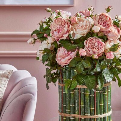 artificial english rose dee pink cream H57 by EDG
