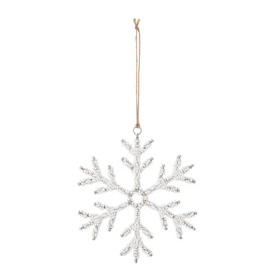 glass beaded snowflake hanging decoration by Bloomingville