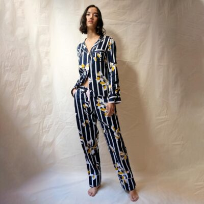 navy floral stripe pyjama set by Fable and Eve