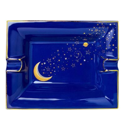 blue trinket tray, ashtray Luna with starts and planets by Casacarta