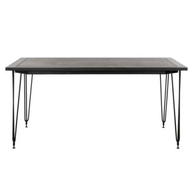 Black bazalt rectangular table with black metal frame by Must living