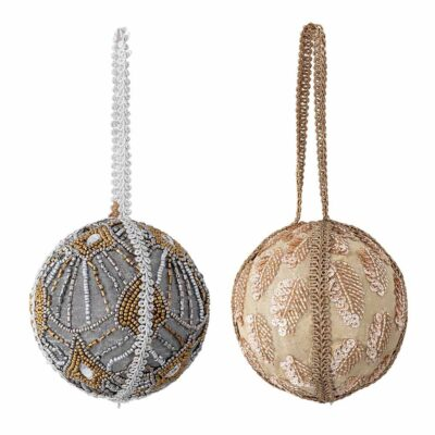 set of 2 embellished baubles by Bloomingville