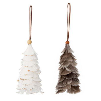 set of 2 feather hanging tree decorations by Bloomingville