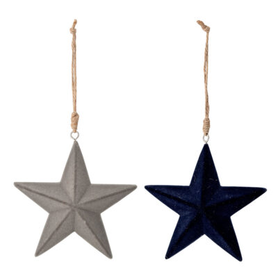 set of 2 hanging star decoration by Bloomingville