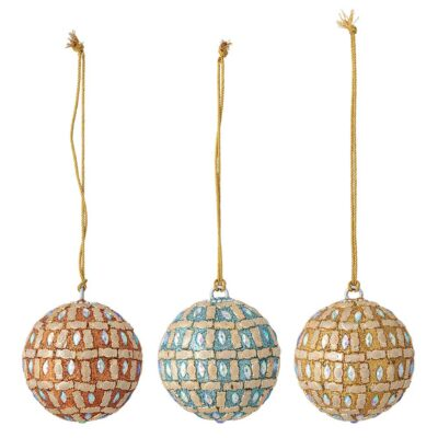 set of 3 embellished baubles by Bloomingville