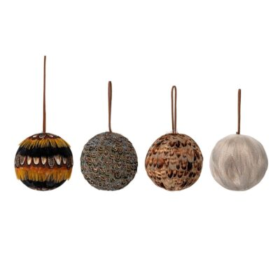 set of 4 feather baubles by Bloomingville