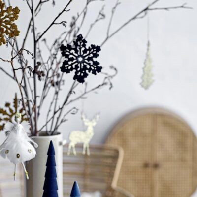 set of 4 nordic snowflake hanging decorations by Bloomingville