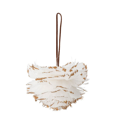 white feather hanging tree decoration by Bloomingville