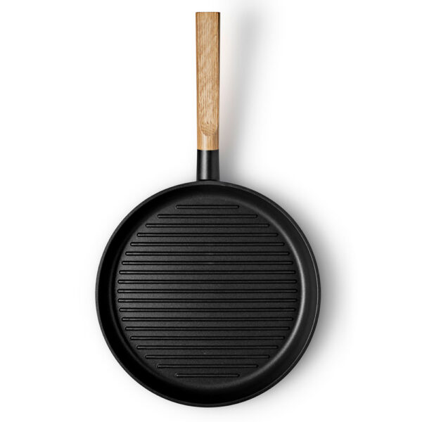 Black Grill frying pan 28cm with wood handle by Eva Solo