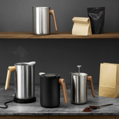 Black jug with wooden handle by Eva Solo