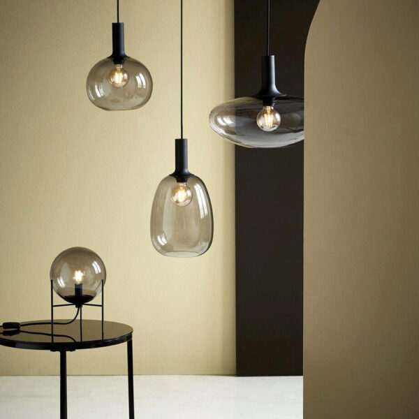 smoked sphere table lamp with black base by Nordlux