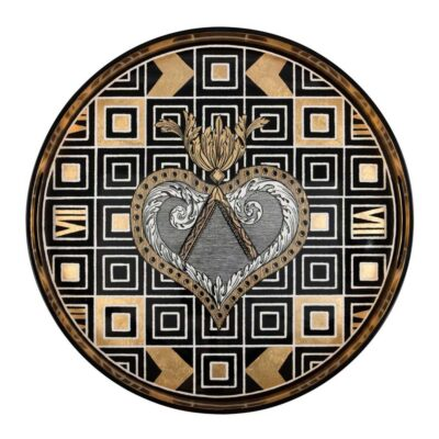 Atout coeur round lacquer tray by Christian Lacroix
