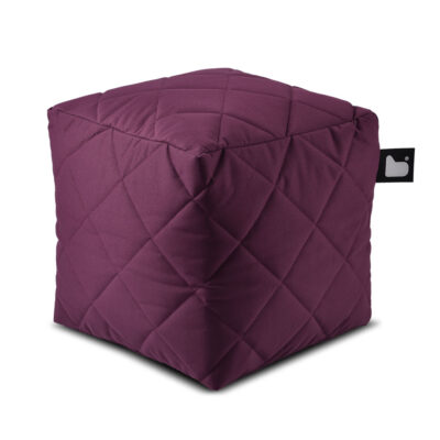 B box berry quilted fabric pouffe by Extreme Lounging