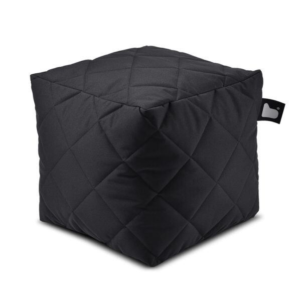 B box black quilted fabric pouffe by Extreme Lounging