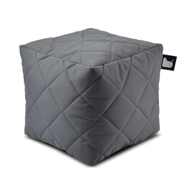 B box grey quilted fabric pouffe by Extreme Lounging