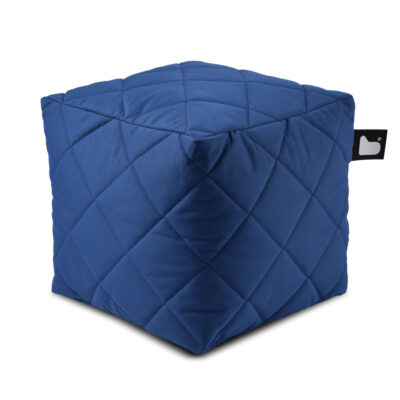 B box blue quilted fabric pouffe by Extreme Lounging