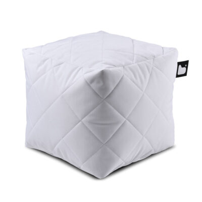 B box white quilted fabric pouffe by Extreme Lounging