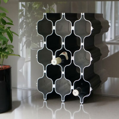 Black 3 part wine rack by Born in Sweden