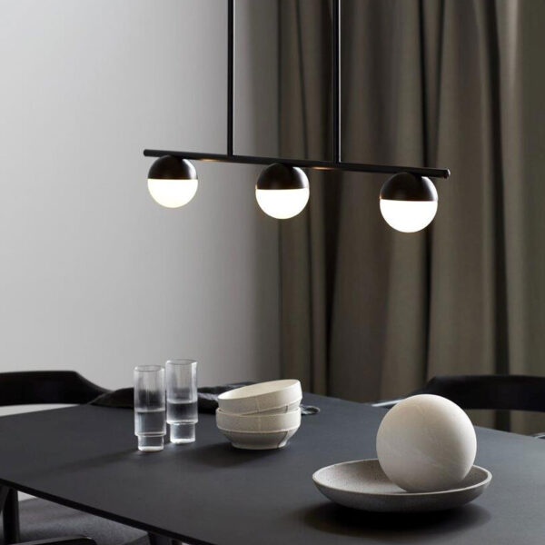 Black Pendant Light with 3 sphere lamps by Nordlux